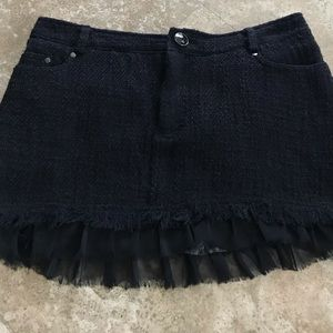 Dresses & Skirts - Tweed Mini Skirt With Sexy Chiffon Trim - S/M